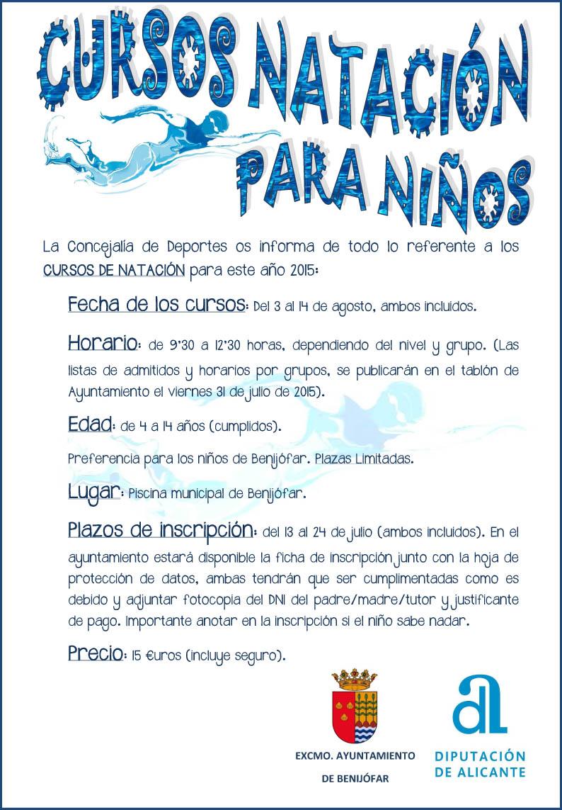 Cursos de nataci n 2015 para ni os ayto benij far for Clases de piscina para ninos