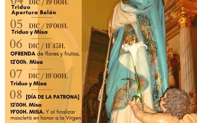 AGENDA DE ACTOS – Fiestas Inmaculada Concepción 2020